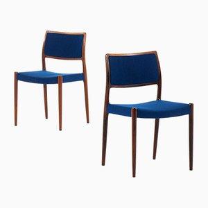 Dänische Nr. 80 Esszimmerstühle mit Stoffbezug & Gestell aus Palisander von Niels Otto Møller für J.L Møllers, 1968, 6er Set
