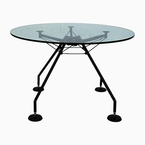 Italian Glass & Steel Nomos Dining Table by Norman Foster for Tecno, 1987