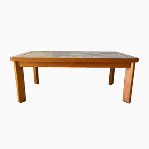 French Vallauris Ceramic & Wood Coffee Table by Jean d'Asti, 1960s