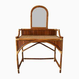 Vintage French Rattan Dressing Table, 1970s