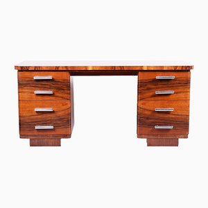 Vintage Art Deco Lacquer and Walnut Desk, 1930s