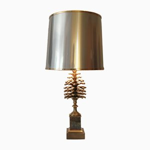 French Pineapple Bronze Table Lamp by Maison Charles, 1970s