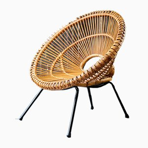 French Steel and Wicker Armchair by Janine Abraham & Dirk Jan Rol, 1950s