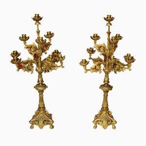 Lámparas de araña italianas Mid-Century de latón dorado, años 50. Juego de 2