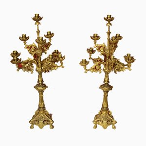 Mid-Century Italian Gilt Brass Candleholders, 1950s, Set of 2
