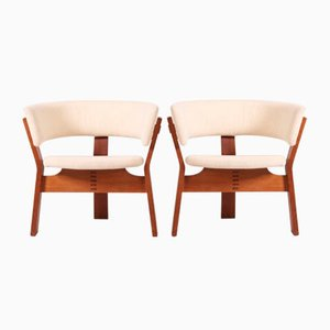 Scandinavian Modern Danish Oak and Wool Armchairs by Steen Ostergaard for Stol-Ex, 1962, Set of 2