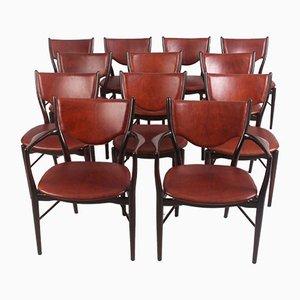 Chaises de Salle à Manger Modèle BO-63 en Hêtre et Cuir par Finn Juhl pour Bovirke, 1952, Set de 12