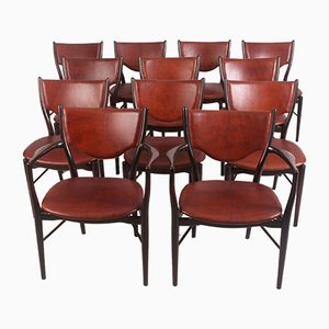 Model BO-63 Beech and Leather Dining Chairs by Finn Juhl for Bovirke, 1952, Set of 12