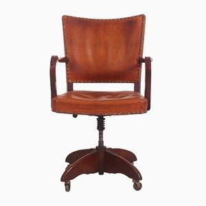 Chaise de Bureau en Chêne et Cuir par Heinrich Roepstorff, Danemark, 1920s