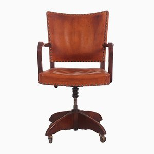 Danish Leather and Oak Desk Chair by Heinrich Roepstorff, 1920s