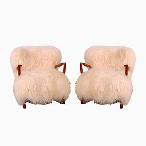 Dänische Sessel mit Lammfellbezug & Gestell aus Eiche von Fritz Schlegel, 1920er, 2er Set