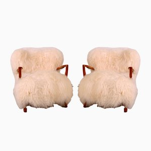 Danish Oak and Lambskin Lounge Chairs by Fritz Schlegel, 1920s, Set of 2