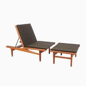 Sofá cama modelo GE01 de roble y lana de Hans J. Wegner para Getama, años 50