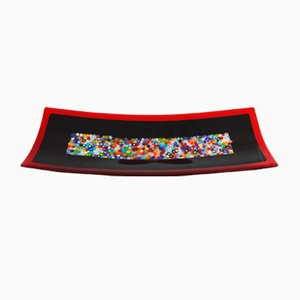Geox R30 Black & Murrine Murano Glass Plate by Stefano Birello for VeVe Glass