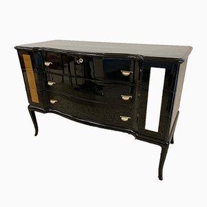 Mid-Century Italian Black & Gold Leaf Dresser, 1950s