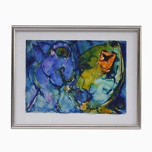 Aquarelle Samtale Med Violet Encadrée par Carl-Henning Pedersen, 1975