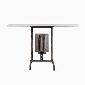 Modernist Stone and Wrought Iron Console Table by Dominique Maltier, 1980s