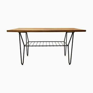 Mid-Century Italian Metal and Teak Coffee Table, 1950s