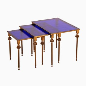 Danish Brass and Colored Glass Nesting Tables from Lysberg Hansen & Terp, 1920s