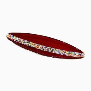 Venetian Red Murano Glass Millefiori Centrepiece by Stefano Birello for VéVé Glass