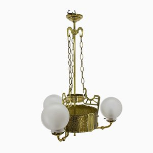 Antique Art Nouveau Brass and Sandblasted Glass Chandelier