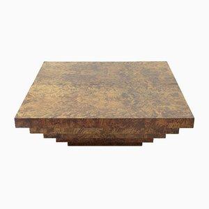 Mesa de centro italiana vintage de madera de brezo con mueble bar, años 70