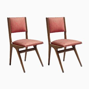 Italian Textile and Wood Dining Chairs, 1950s, Set of 2