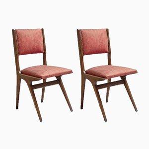 Italienische Esszimmerstühle mit Stoffsitz & Holzgestell, 1950er, 2er Set