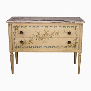 Louis XVI Style Italian Marble & Painted Wood Chest of Drawers, 1970s