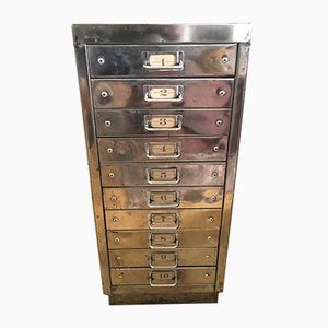 Mid-Century Industrial Polished Steel Cabinet, 1950s