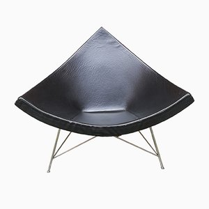 Black Leather Coconut Lounge Chair by George Nelson for Vitra, 1950s