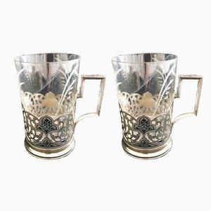 Versilberte russische Vintage Glashalter mit Niello-Verzierung, 2er Set