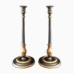 Antike Kerzenhalter aus Messing & Holz, 2er Set
