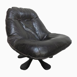 Italian Leather and Polyester Swivel Chair, 1980s