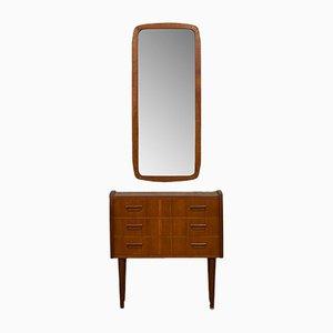 Juego de armario y espejo escandinavo, años 60