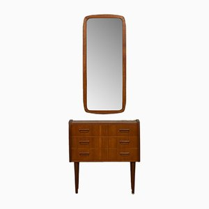 Scandinavian Mirror & Cabinet Set, 1960s