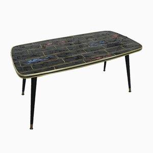 Table Basse Vintage avec Plateau en Verre, 1950s