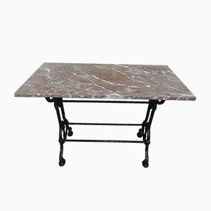 Mesa de jardín de hierro fundido y mármol, años 30