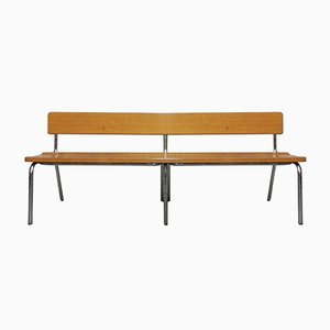Mid-Century Beech and Chrome Waiting Room Bench, 1960s