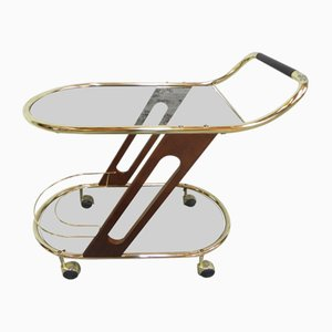 Vintage Italian Glass, Plastic, and Wood Hollywood Regency Serving Trolley, 1970s