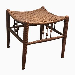 Antique Regency Birch and Rattan Ottoman from Heywood Wakefield