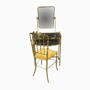 Italian Modern Brass and Mirrored Glass Dressing Table, 1970s