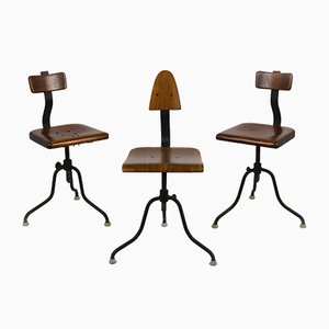 Industrial Steel and Wood Swivel Chairs from Tomáš Baťa, 1940s, Set of 3