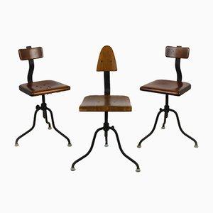 Sedie girevoli industriali in acciaio e legno di Tomáš Baťa, anni '40, set di 3