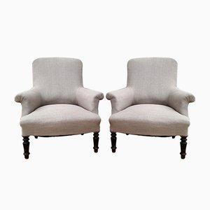 Antike französische Sessel mit Holzfüßen, 2er Set