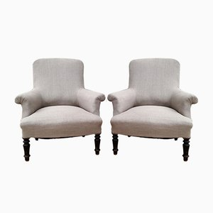 Antique French Wooden Lounge Chairs, Set of 2