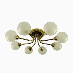 Deutsche Mid-Century Deckenlampe aus Messing & Stahl von Hillebrand Lighting