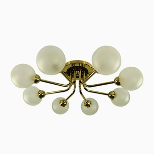 Mid-Century German Brass and Steel Ceiling Lamp from Hillebrand Lighting