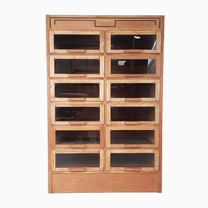 Glass & Oak Industrial 14-Drawer Cabinet from Dudley & Co., 1940s