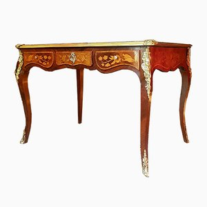 Antique French Bronze & Rosewood Floral Marquetry Desk